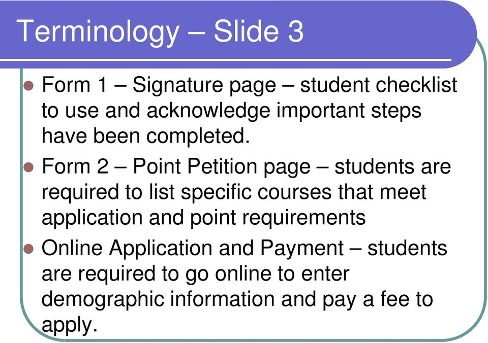 Form 2 Point Petition page students are required to list specific courses that meet