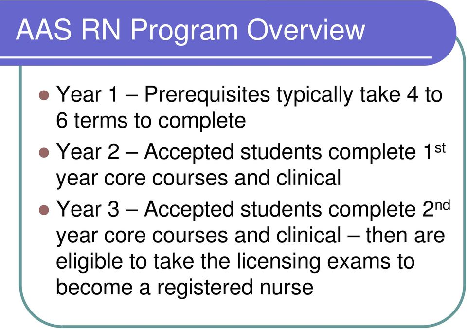 clinical Year 3 Accepted students complete 2 nd year core courses and