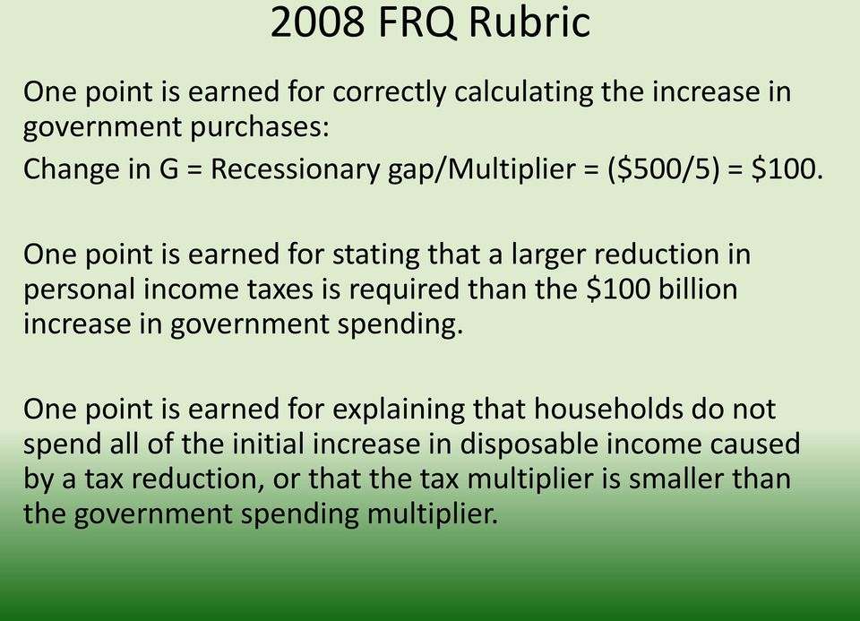 One point is earned for stating that a larger reduction in personal income taxes is required than the $100 billion increase in