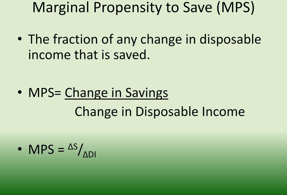 income that is saved.