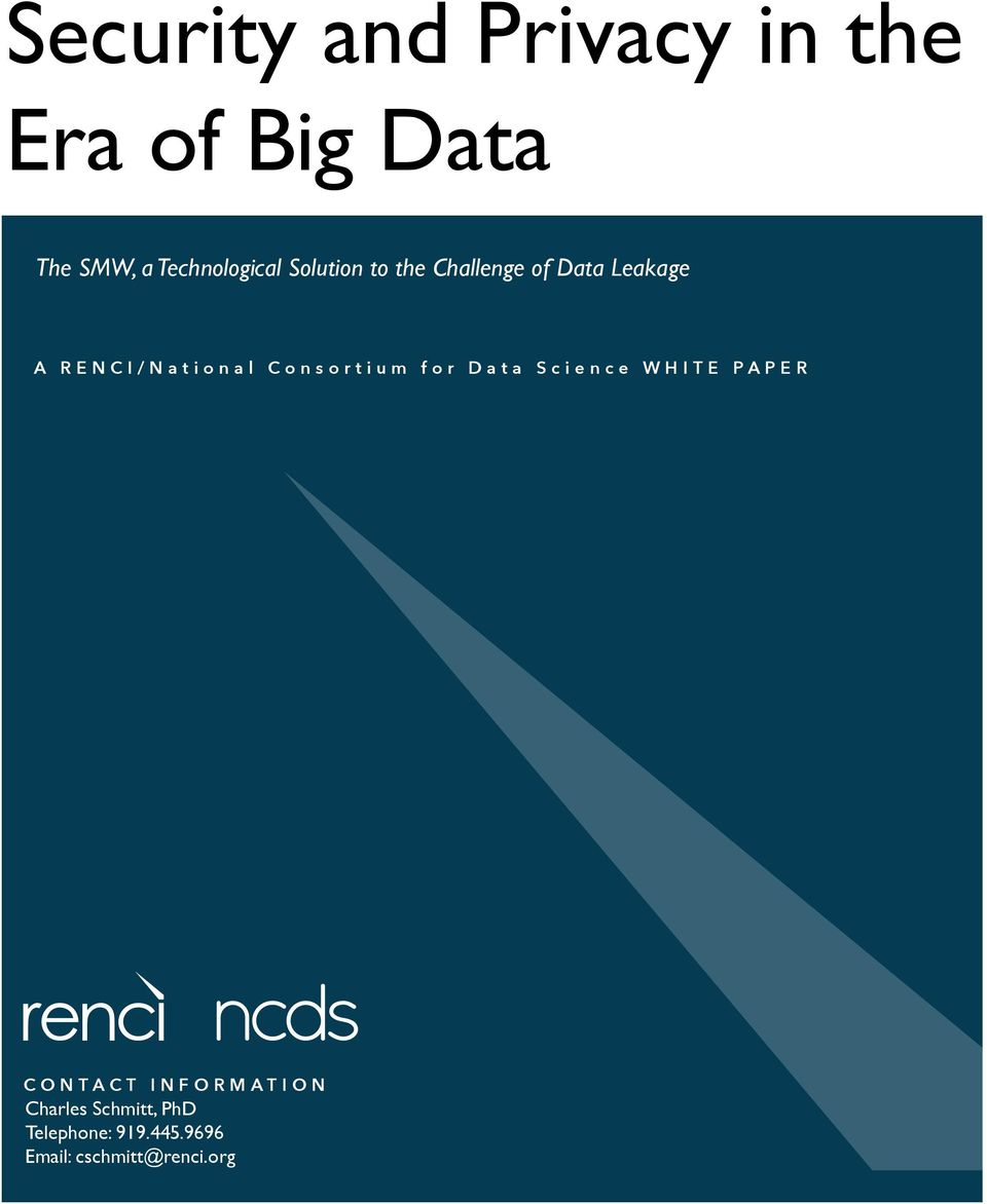 RENCI/National Consortium for Data Science WHITE PAPER CONTACT