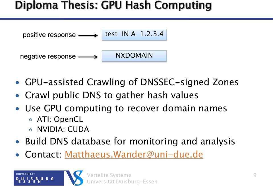 public DNS to gather hash values Use GPU computing to recover domain names ATI:
