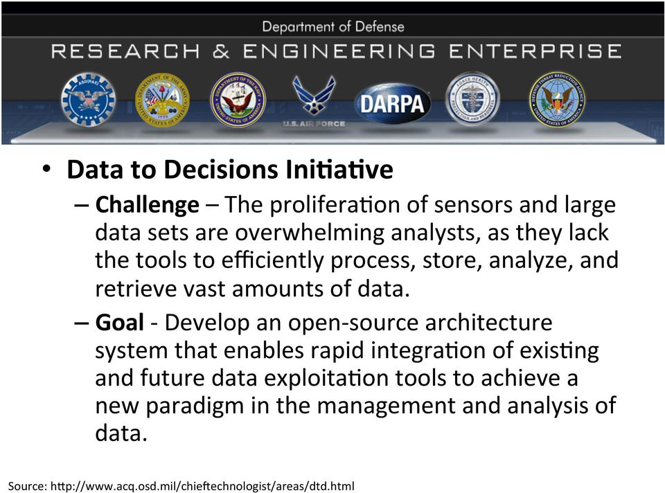 Goal - Develop an open- source architecture system that enables rapid integra%on of exis%ng and future data