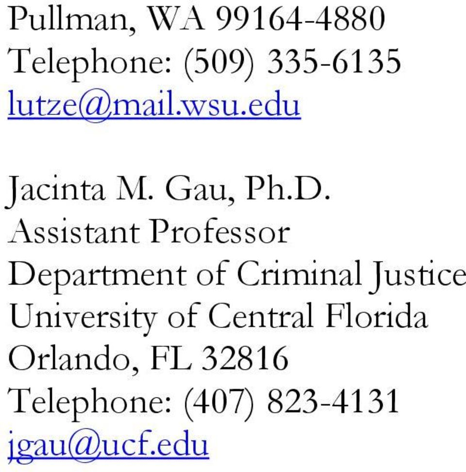 Assistant Professor Department of Criminal Justice