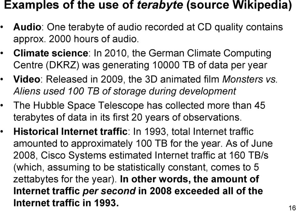 Aliens used 100 TB of storage during development The Hubble Space Telescope has collected more than 45 terabytes of data in its first 20 years of observations.