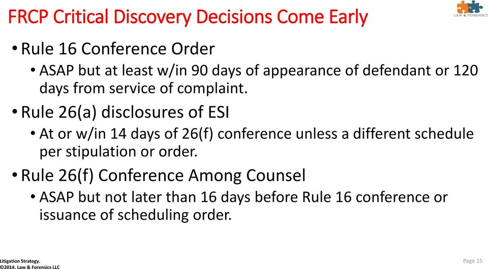 Rule 26(a) disclosures of ESI At or w/in 14 days of 26(f) conference unless a different schedule per