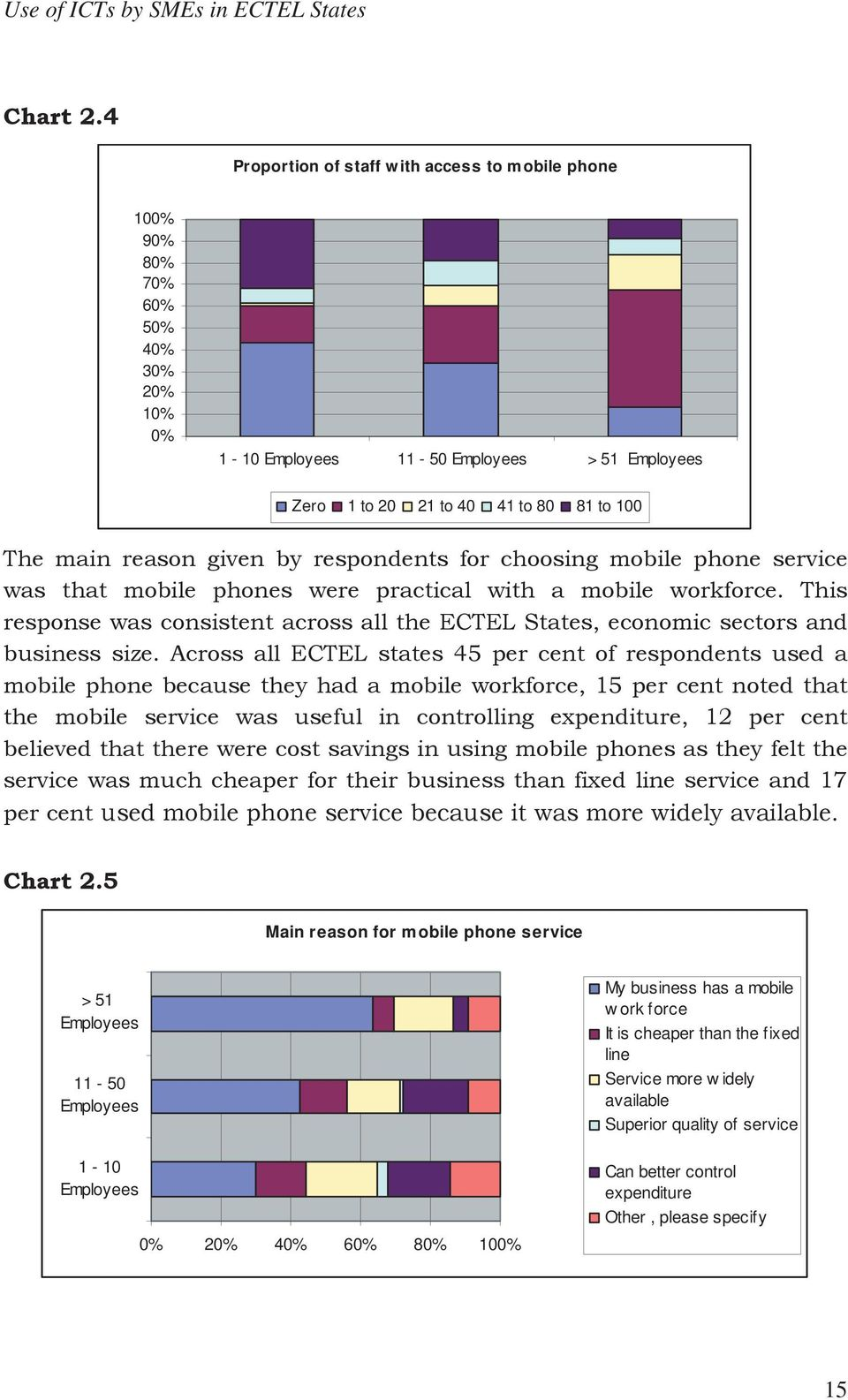 given by respondents for choosing mobile phone service was that mobile phones were practical with a mobile workforce.