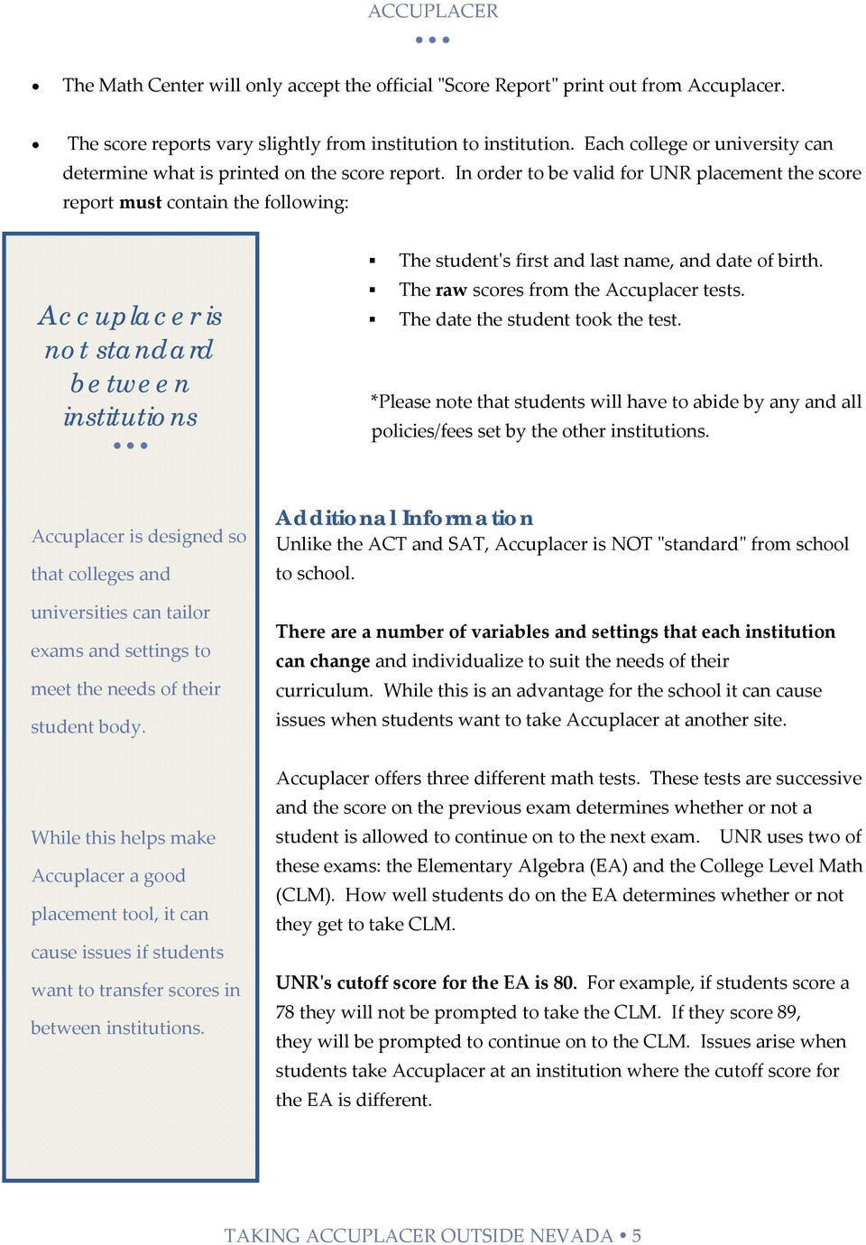 ACCUPLACER Information and Resource Guide for Incoming Students and
