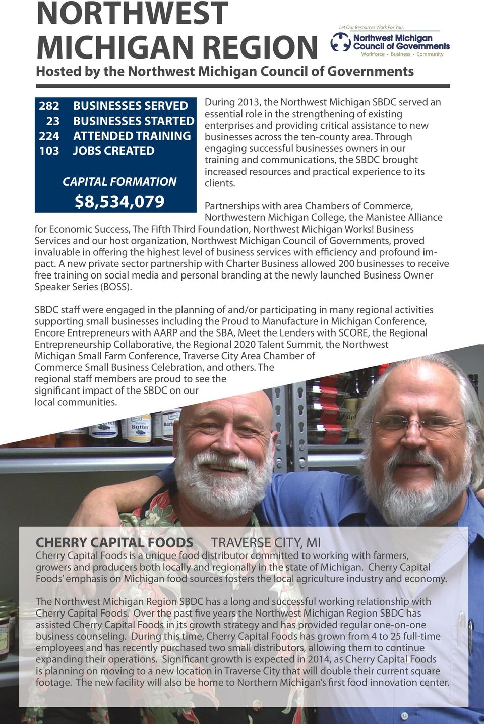 Workforce Business Community During 2013, the Northwest Michigan SBDC served an essential role in the strengthening of existing enterprises and providing critical assistance to new businesses across