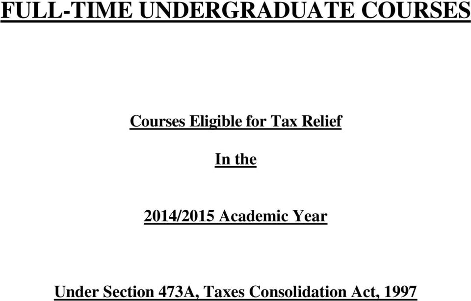 the 2014/2015 Academic Year Under