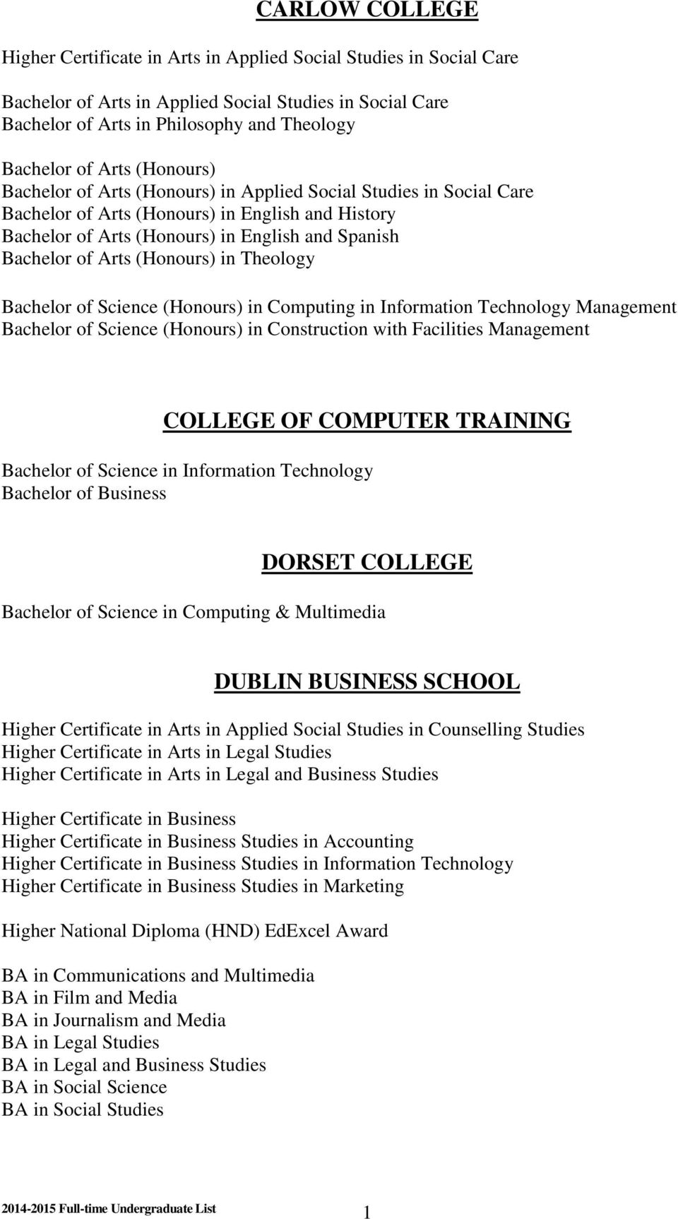 (Honours) in Theology Bachelor of Science (Honours) in Computing in Information Technology Management Bachelor of Science (Honours) in Construction with Facilities Management COLLEGE OF COMPUTER