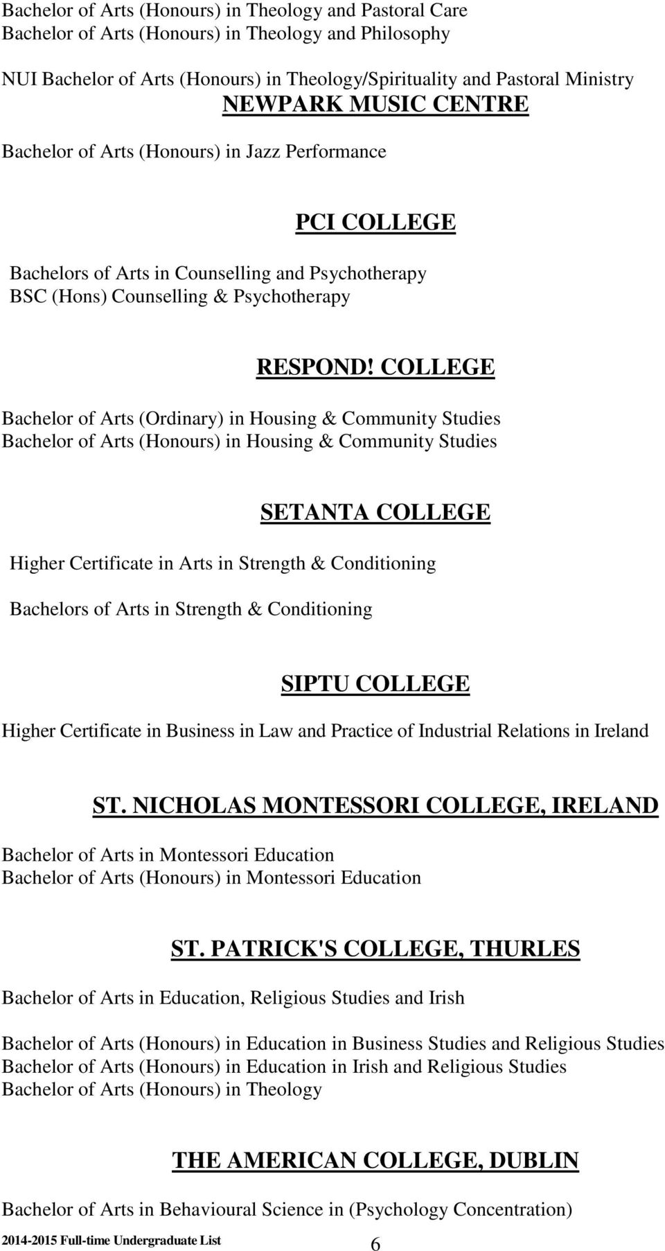 COLLEGE Bachelor of Arts (Ordinary) in Housing & Community Studies Bachelor of Arts (Honours) in Housing & Community Studies SETANTA COLLEGE Higher Certificate in Arts in Strength & Conditioning