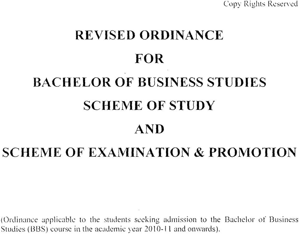 (Ordinance applicable to the students seeking admission to the