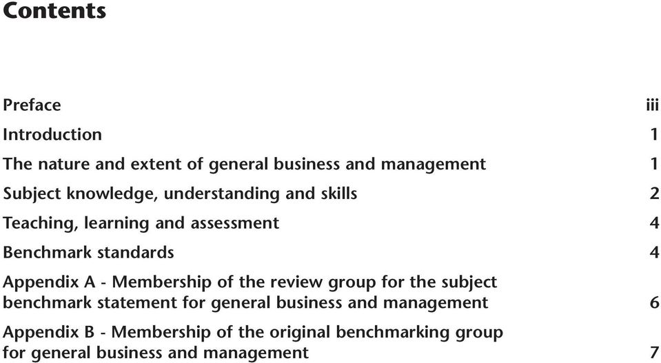 Appendix A - Membership of the review group for the subject benchmark statement for general business