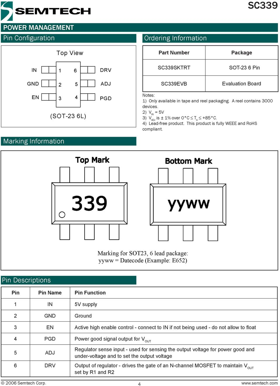 Marking Information Marking for SOT23, 6 lead package: yyww = Datecode (Example: E652) Pin Descriptions Pin Pin Name Pin Function 1 IN 5V supply 2 GND Ground 3 EN Active high enable control - connect