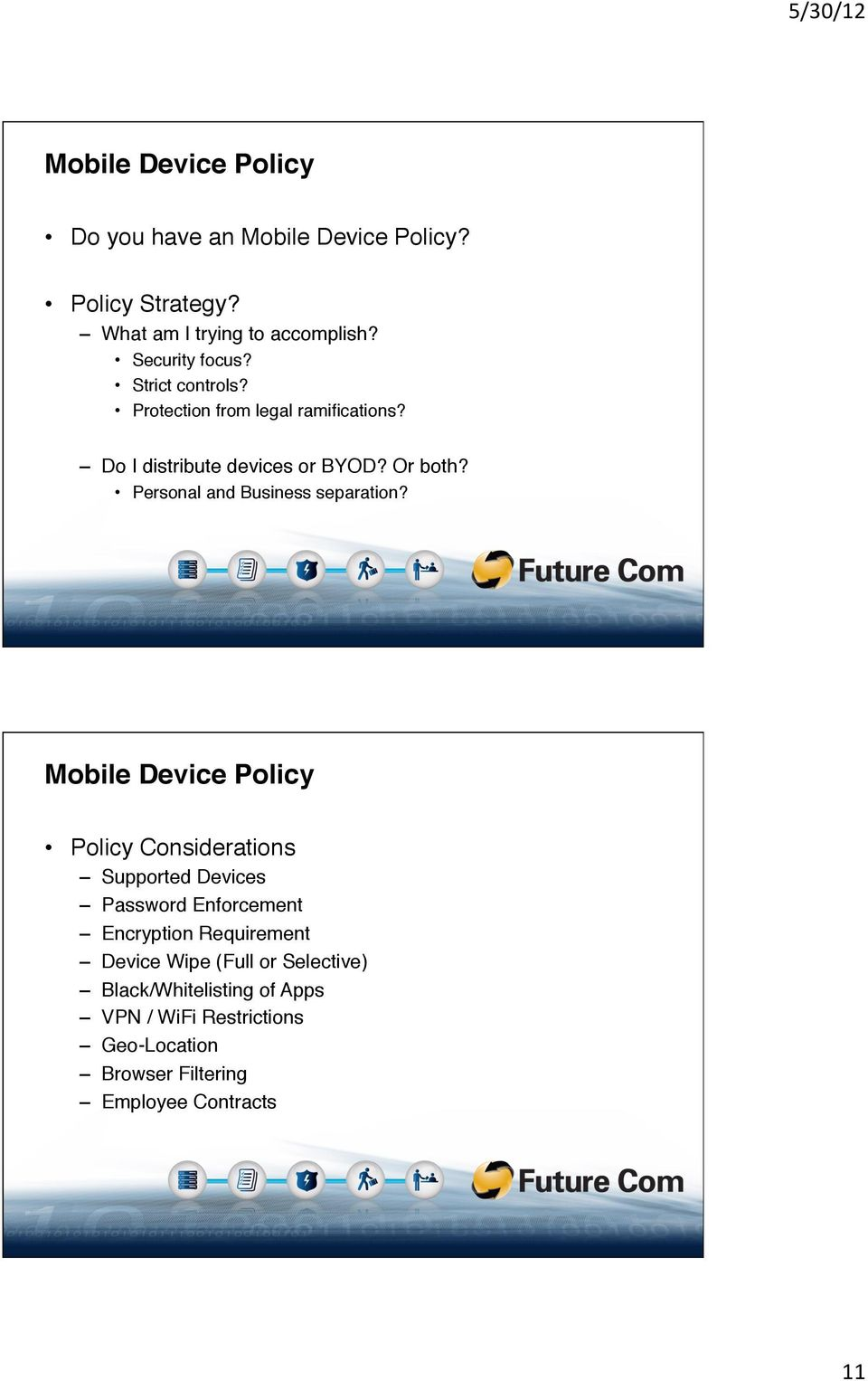 """ Personal and Business separation?"" Mobile Device Policy!"