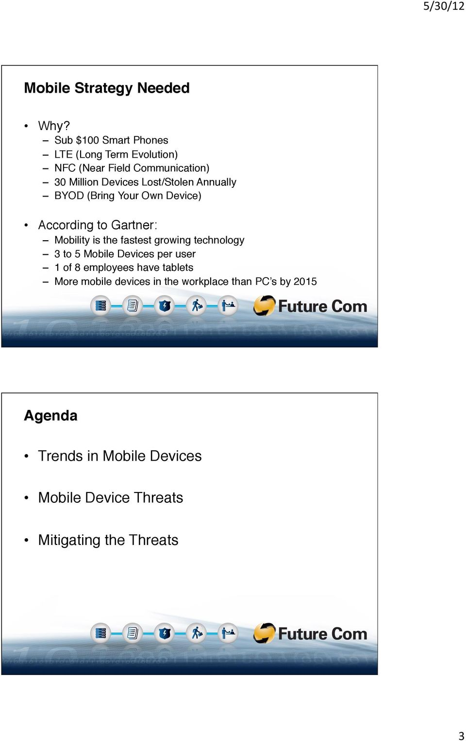 "Lost/Stolen Annually"" BYOD (Bring Your Own Device)"" According to Gartner:"" Mobility is the fastest growing"