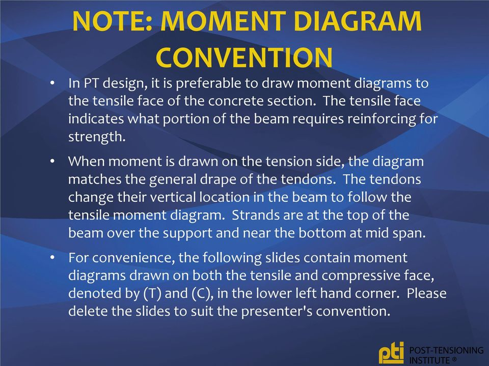 When moment is drawn on the tension side, the diagram matches the general drape of the tendons.