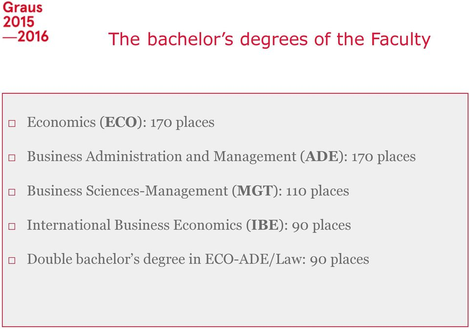 Sciences-Management (MGT): 110 places International Business