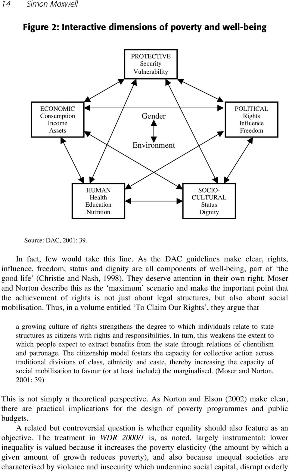 As the DAC guidelines make clear, rights, influence, freedom, status and dignity are all components of well-being, part of the good life (Christie and Nash, 1998).