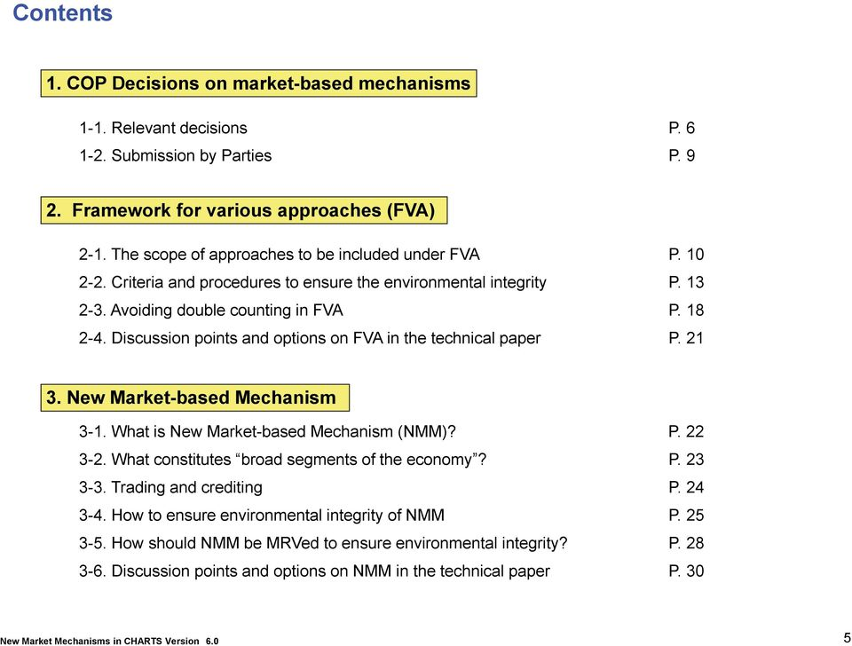 Avoiding double counting in FVA P. 18 2-4. Discussion points and options on FVA in the technical paper P. 21 3. New Market-based Mechanism 3-1. What is New Market-based Mechanism (NMM)? P. 22 3-2.