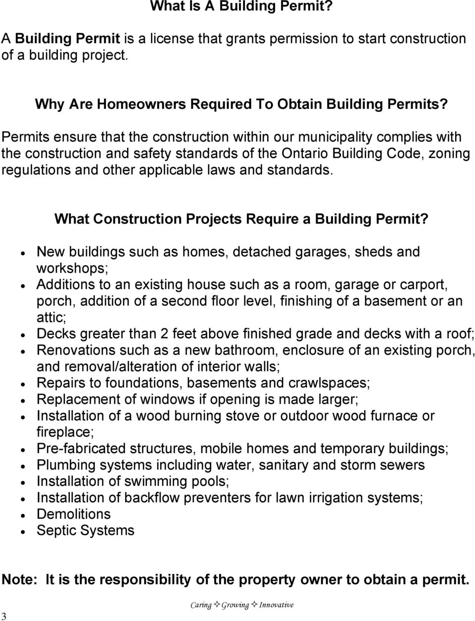 standards. What Construction Projects Require a Building Permit?