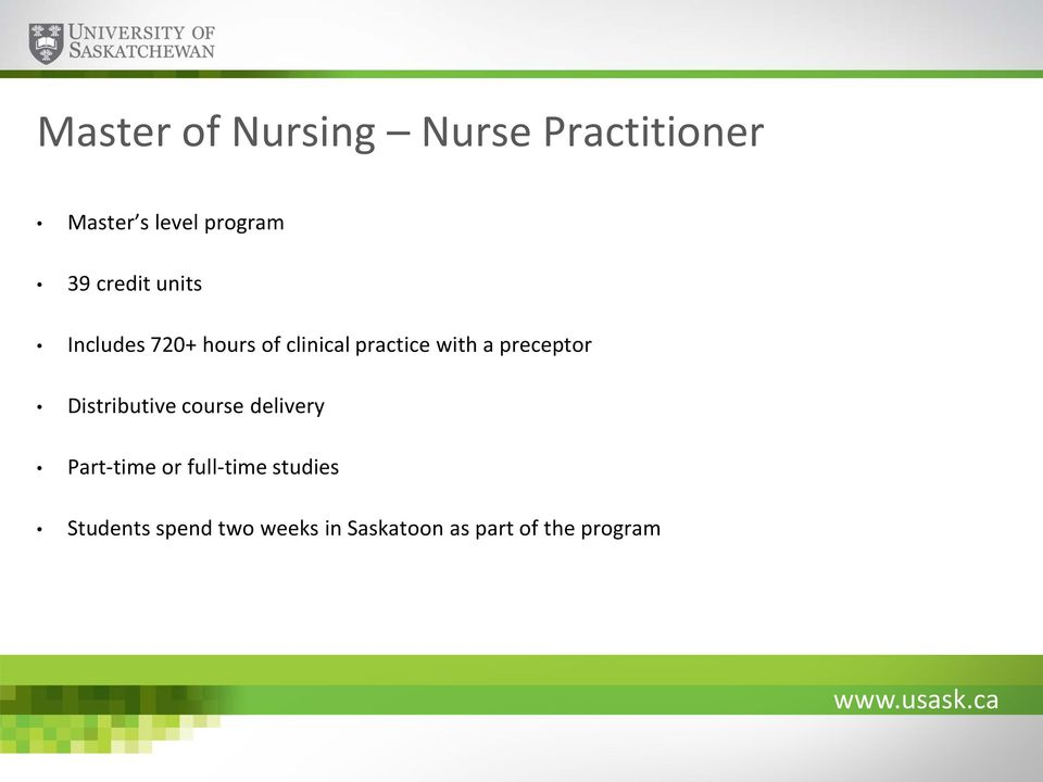 preceptor Distributive course delivery Part-time or full-time