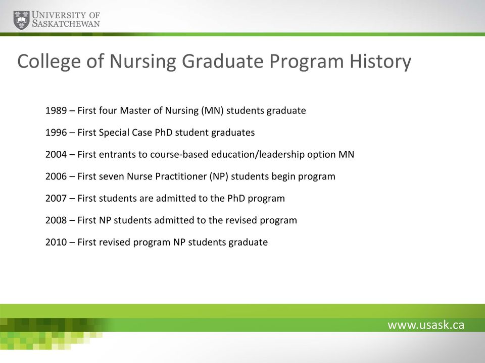 2006 First seven Nurse Practitioner (NP) students begin program 2007 First students are admitted to the PhD