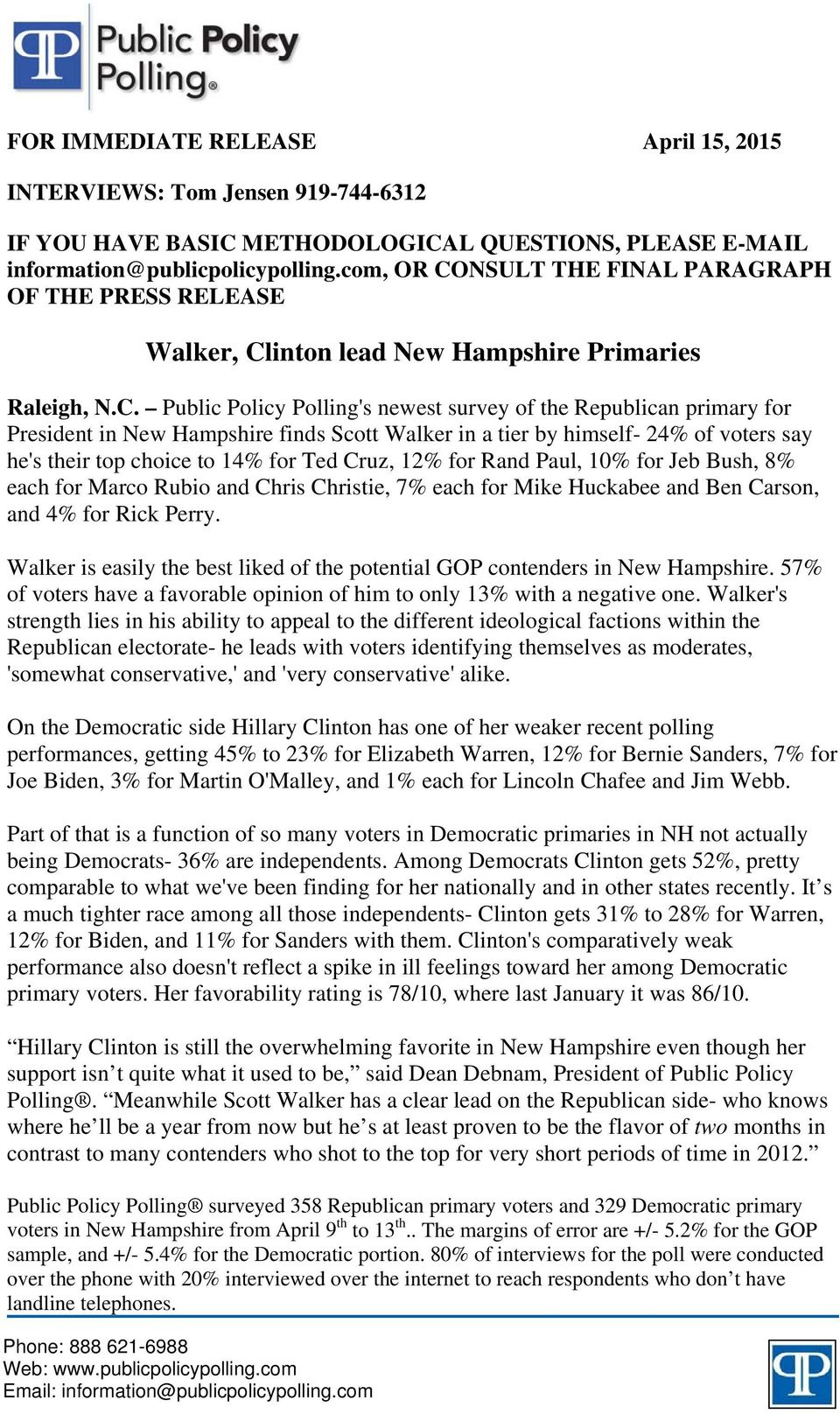 NSULT THE FINAL PARAGRAPH OF THE PRESS RELEASE Walker, Cl
