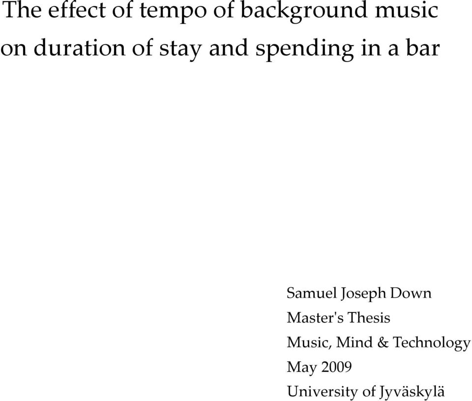Samuel Joseph Down Master's Thesis Music,
