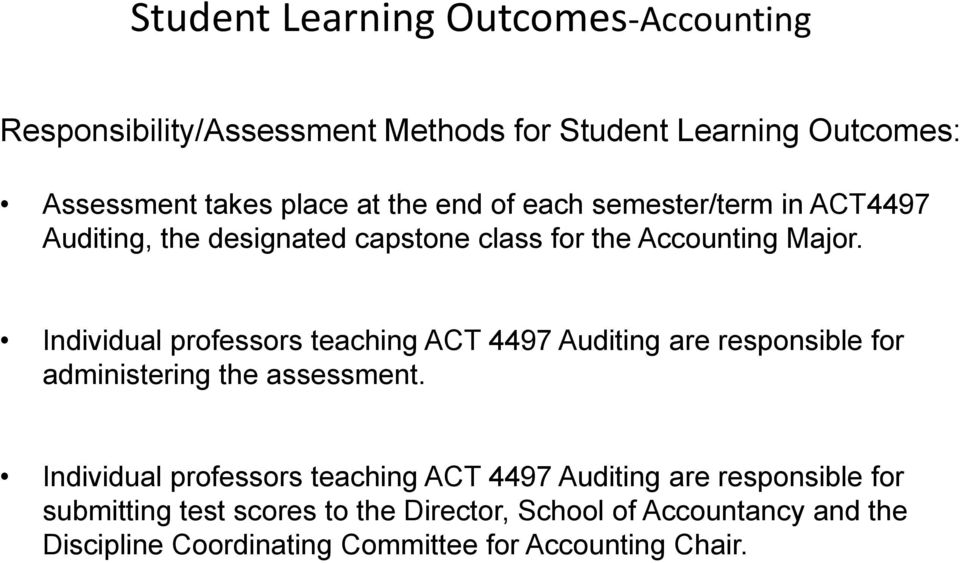 Individual professors teaching ACT 4497 Auditing are responsible for administering the assessment.