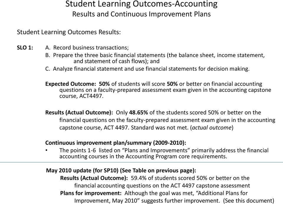 Expected Outcome: 50% of students will score 50% or better on financial accounting questions on a faculty-prepared assessment exam given in the accounting capstone course, ACT4497.