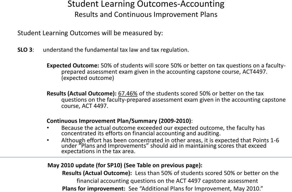 (expected outcome) Results (Actual Outcome): 67.46% of the students scored 50% or better on the tax questions on the faculty-prepared assessment exam given in the accounting capstone course, ACT 4497.