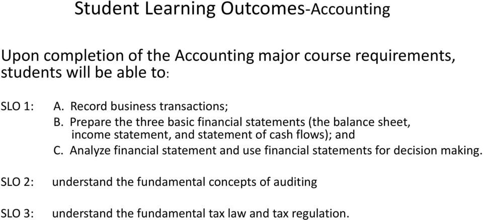 Prepare the three basic financial statements (the balance sheet, income statement, and statement of cash flows); and C.