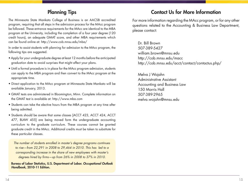 requirements which can be found online at: http://www.cob.mnsu.edu/mba/ In order to assist students with planning for admission to the MAcc program, the following tips are suggested.