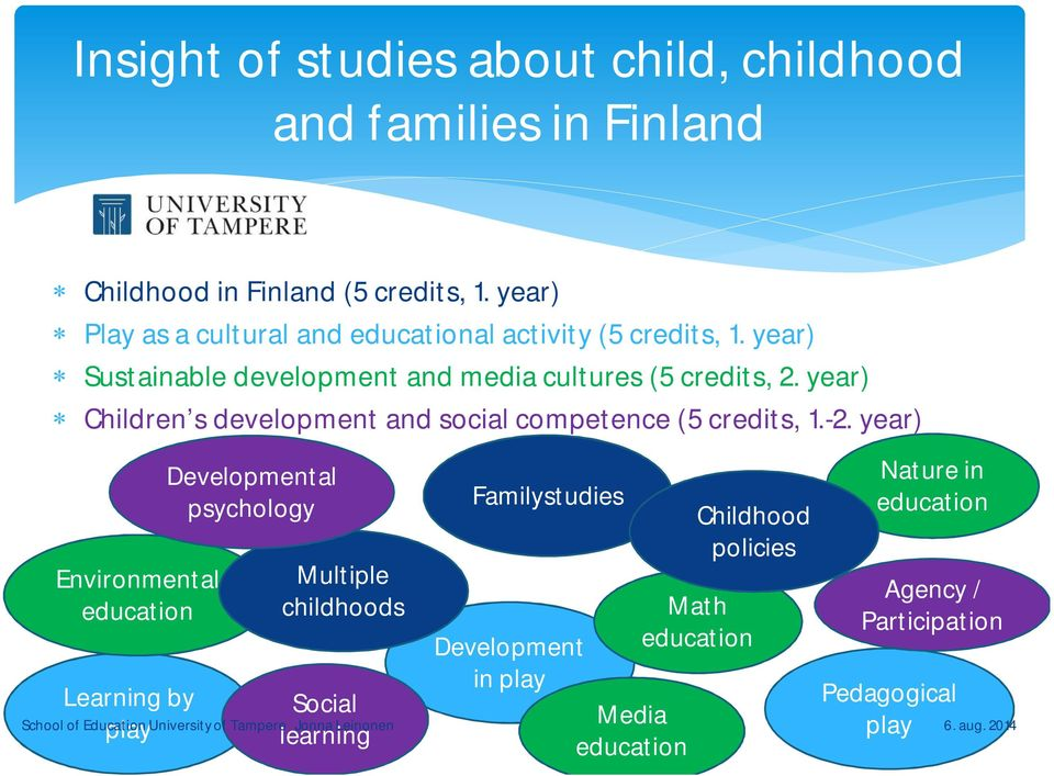 year) Children s development and social competence (5 credits, 1.-2.