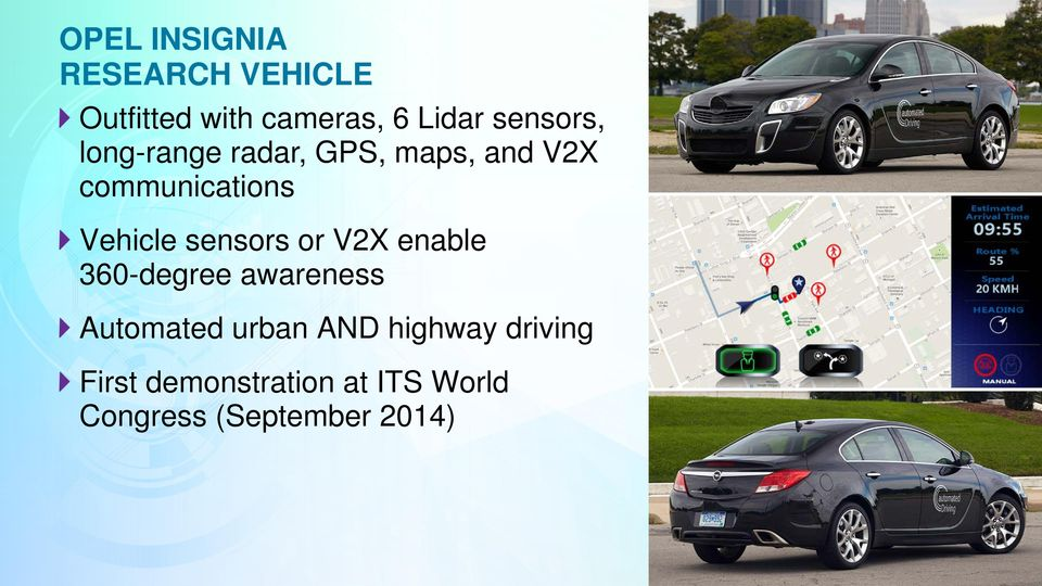 Vehicle sensors or V2X enable 360-degree awareness Automated urban