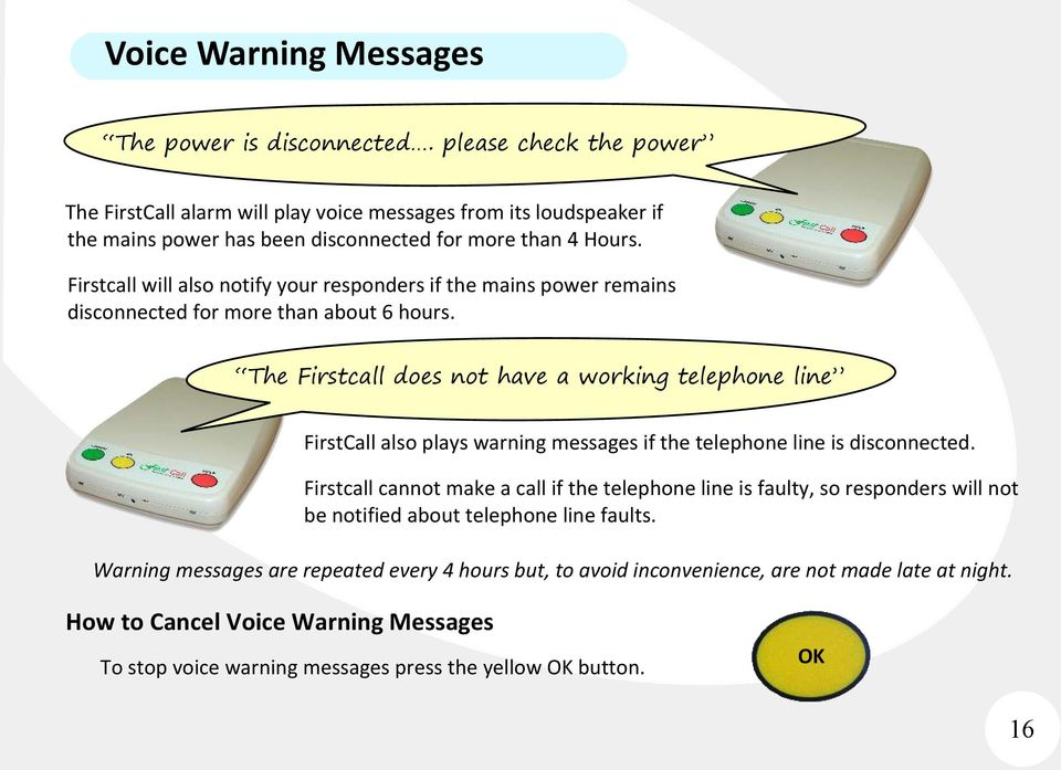 Firstcall will also notify your responders if the mains power remains disconnected for more than about 6 hours.