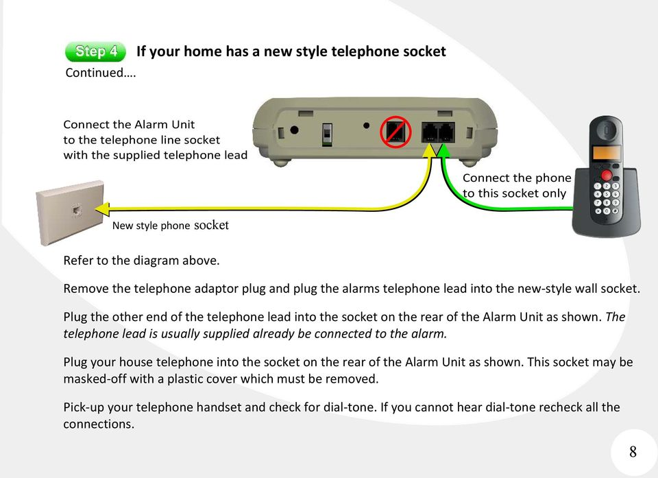 Refer to the diagram above. Remove the telephone adaptor plug and plug the alarms telephone lead into the new-style wall socket.