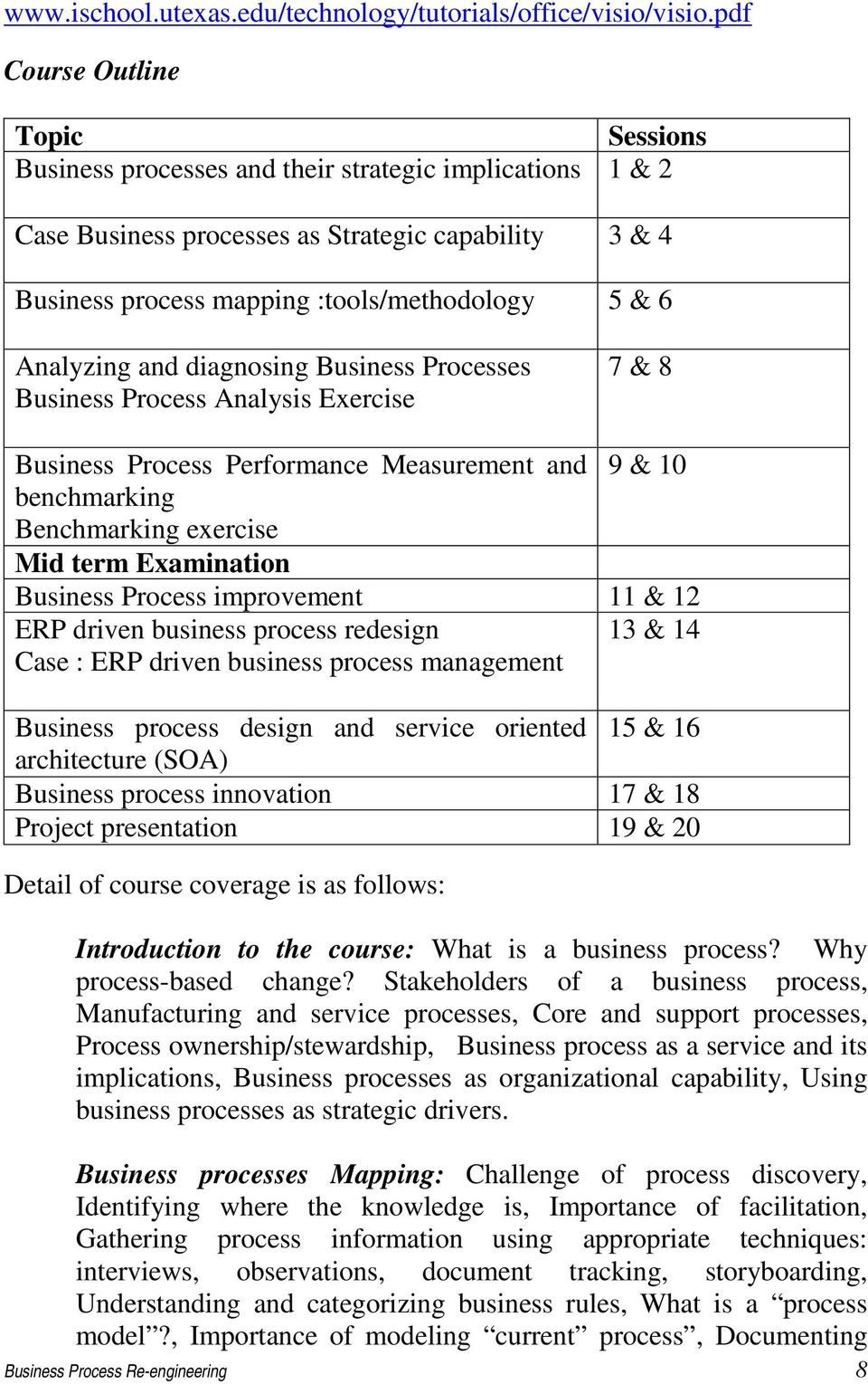 Analyzing and diagnosing Business Processes Business Process Analysis Exercise 7 & 8 Business Process Performance Measurement and 9 & 10 benchmarking Benchmarking exercise Mid term Examination