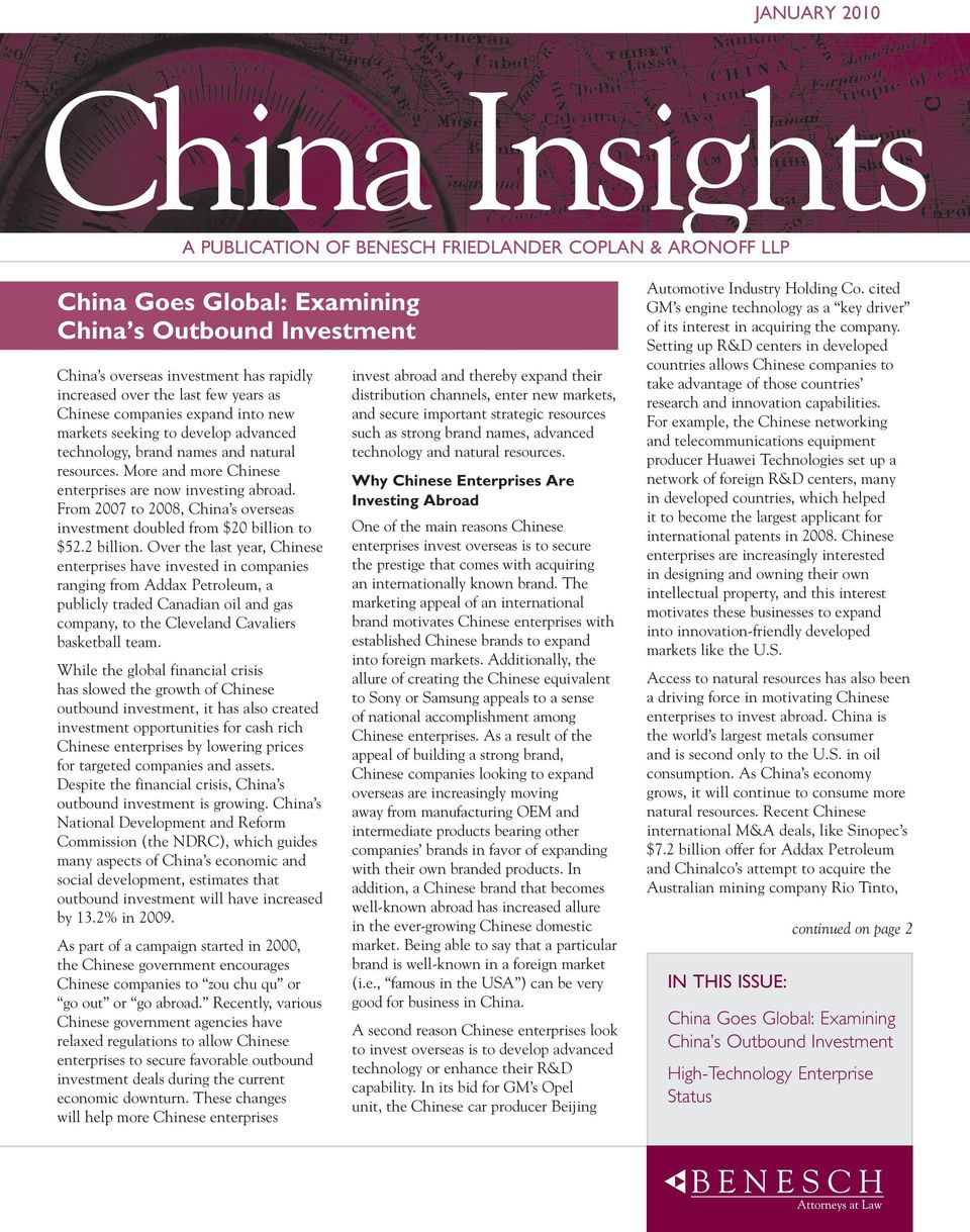 From 2007 to 2008, China s overseas investment doubled from $20 billion to $52.2 billion.