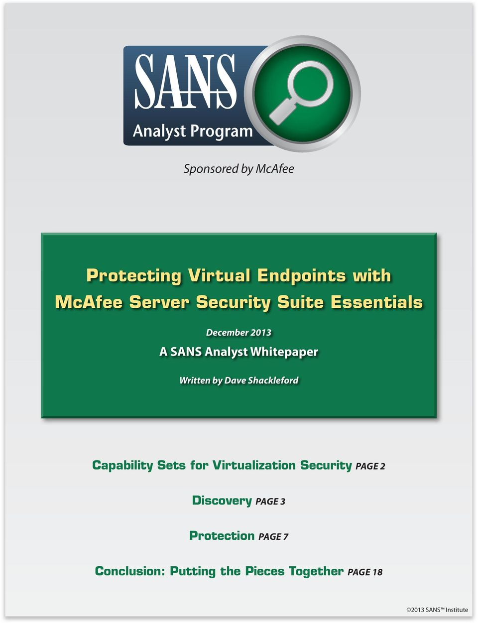Shackleford Capability Sets for Virtualization Security Page 2 Discovery Page