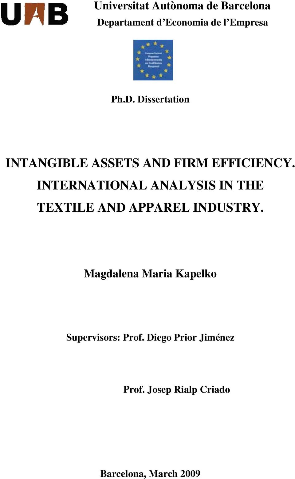 Dissertation INTANGIBLE ASSETS AND FIRM EFFICIENCY.