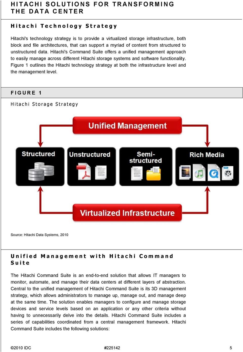 Hitachi's Command Suite offers a unified management approach to easily manage across different Hitachi storage systems and software functionality.