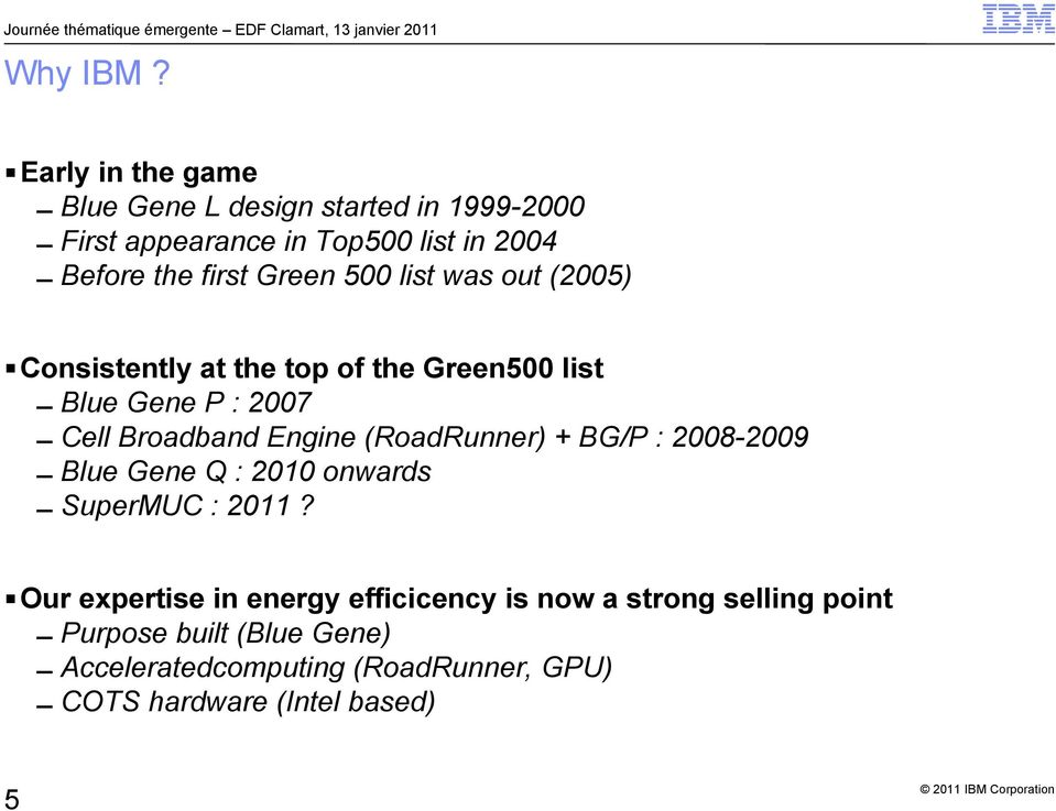 Green 500 list was out (2005) Consistently at the top of the Green500 list Blue Gene P : 2007 Cell Broadband Engine