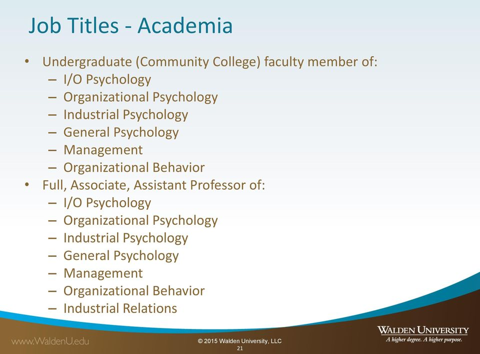 Behavior Full, Associate, Assistant Professor of: I/O Psychology  Behavior Industrial