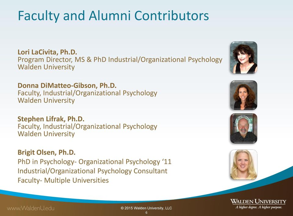 D. Faculty, Industrial/Organizational Psychology Walden University Brigit Olsen, Ph.D. PhD in Psychology-