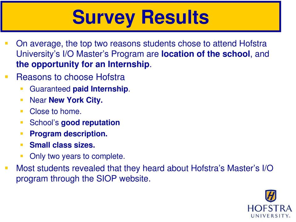 Reasons to choose Hofstra Guaranteed paid Internship. Near New York City. Close to home.
