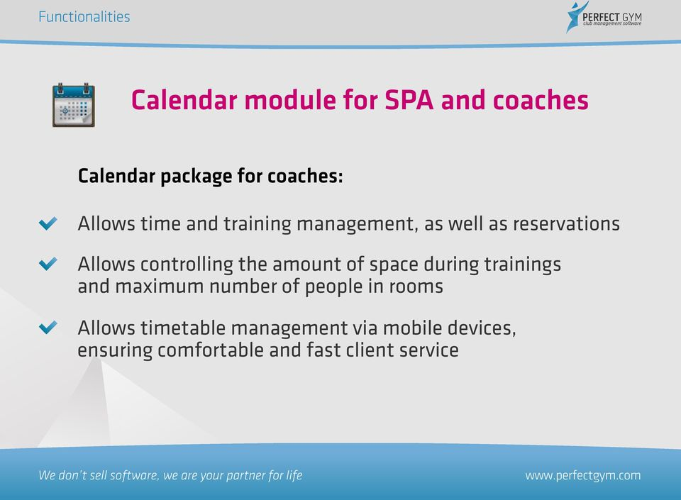 of space during trainings and maximum number of people in rooms Allows
