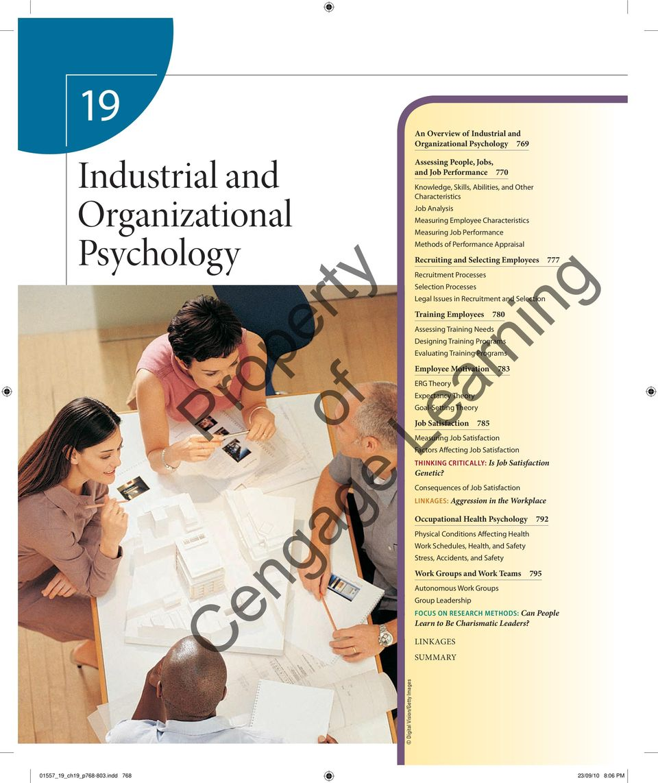 Processes Legal Issues in Recruitment and Selection Training Employees 780 Assessing Training Needs Designing Training Programs Evaluating Training Programs Employee Motivation 783 ERG Theory